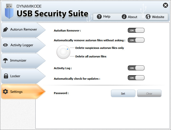 Usb Security Suite Settings
